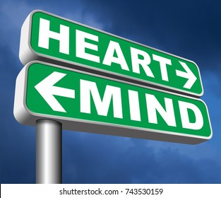 heart over mind follow your instinct and gut feeling or intuition insight 3D, illustration