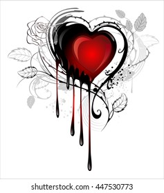 Heart painted black and red paint, decorated with spiky stalks of roses on white background.