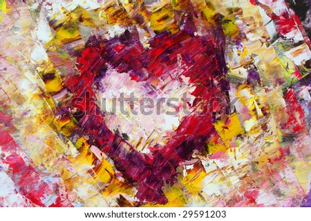 heart painted canvas background art created stock illustration