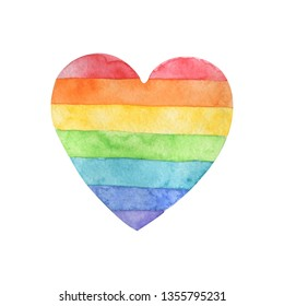 Heart painted with rainbow colors. Watercolor.