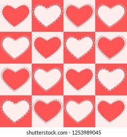 Heart pattern in red