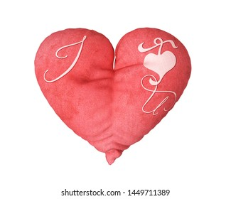Heart Pillow with I love U text isolated on a Background  3D Illustration