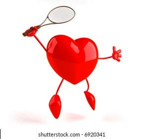 Heart playing tennis