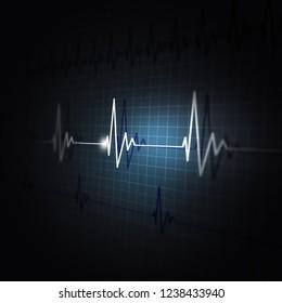 heart pulsating ecg rhythm graph dark background