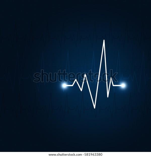 heart pulsating rhythm graph abstract dark blue background