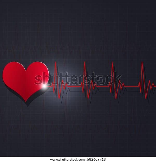 heart pulsating rhythm graph abstract red background