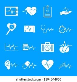 Heart pulse beat icons set. Simple illustration of 25 heart pulse beat icons for web