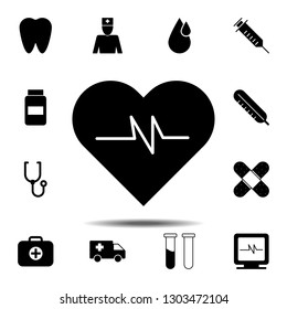 heart pulse icon. Simple glyph illustration element of Medecine set icons for UI and UX, website or mobile application