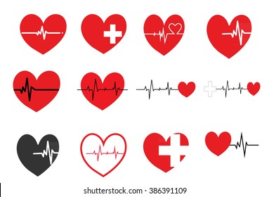 Heart pulse icon,Cardiogram of love