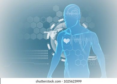 Heart pulse trace against black background against blue