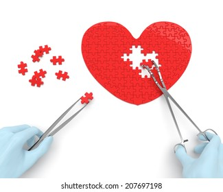 Heart puzzle and hands of cardiac surgeon with surgical instruments