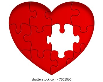 Heart puzzle with missing piece