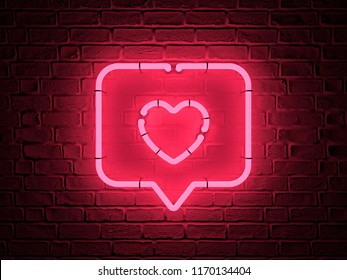 Heart red pin icon red pin on a dark brick background. Neon symbol. 3d render