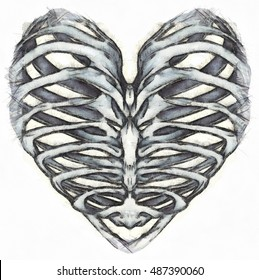 Heart Rib Cage Graphic Design For Clothing