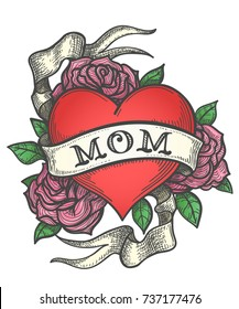 Heart with rose flowers and ribbon with wording MOM. Retro tattoo illustration