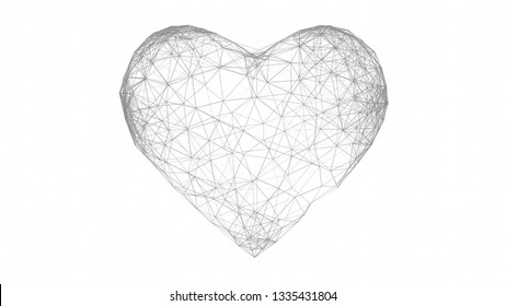 Heart shape 3d low poly connected dots. isolated on white background. 3d illustration