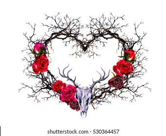 Heart shape with animal skull. Branches, rose flowers. Watercolor in gothic style