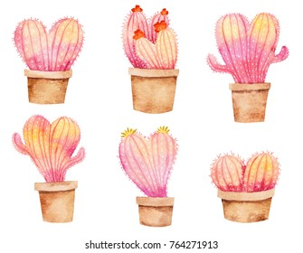 Heart shape cactus in pot. Hand drawn watercolor illustration. Cute valentine's day painting. Plants in pots. Set with succulents