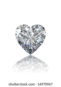Heart shape diamond on white