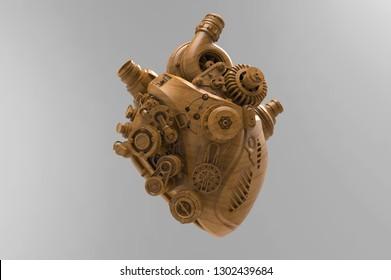 Heart shape engine, 3D Render, 3D Illustration