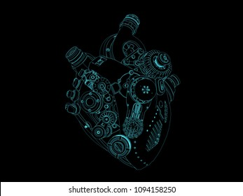heart shape engineering line arts drawing