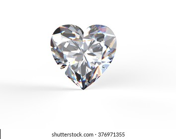 Heart shape Gemstone on white. Jewelry background. Diamond.