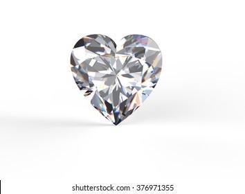 Heart shape Gemstone on white. Jewelry background. Diamond.
