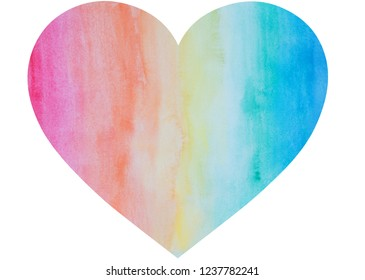 Heart shape hand painted with watercolors in rainbow colors. It has watercolour stains and paper texture. Isolated on white background.