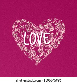 Heart shape icon for card or illustration - cute painted effect
