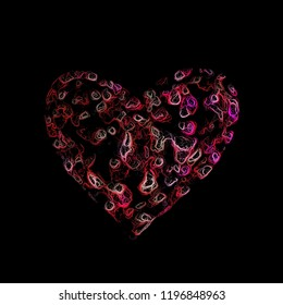 Heart shape icon for card or illustration - colourful painted effect on black background
