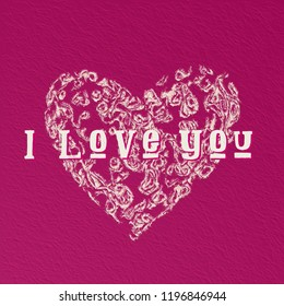 """Heart shape icon with """"I Love You"""" for card or illustration - cute painted effect"""