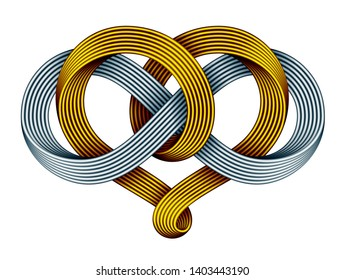 Heart shape and infinity symbol made of intertwined golden and silver mobius strips as a celtic knot.. Forever love sign. 3D illustration isolated on a white background.