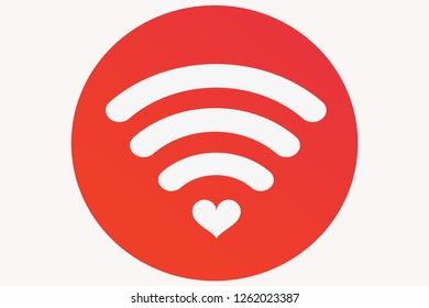 Heart shape with internet wifi sign in red circle isolate on white background