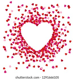 Heart shape lined with paper hearts. Happy Valentine`s Day greeting card background. illustration
