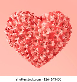 Heart shape made of flowers with gold beads. Valentine's Day. 3d rendering