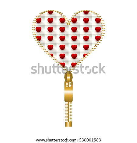 Heart Shape Made Golden Zip Filled Stock Illustration Royalty Free
