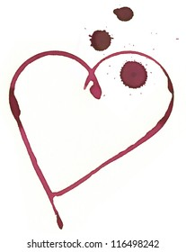 Heart shape made with stain from wine glass