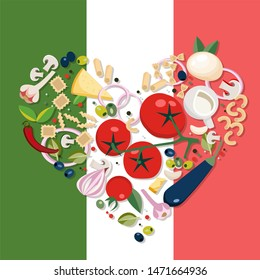 Heart shape Mediterranean food. Ingredients - tomato, olive, onion, mushroom,different types of pasta, cheese,chili,garlic. italian food against the background of Italian flag Flat illustration