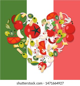 Heart shape Mediterranean food products. Ingredients - tomato, olive, onion, mushroom,pasta, cheese,chili,garlic. Italian food against background on Italian flag Flat illustration.
