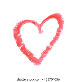 Heart shape outline drawn with a wax crayon isolated over the white background