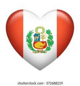 Heart shape of Peru flag isolated on white
