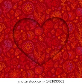 Heart shape raster frame on doodle flowers red background, Valentines day card vector template.