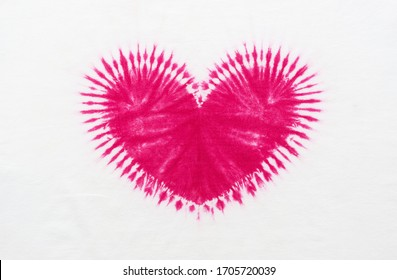 heart shape tie dye pattern hand dyed on cotton fabric abstract texture background.