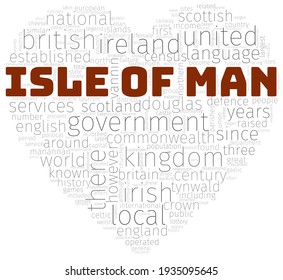 Heart shape wordcloud, or wordle, summarizing the main information about Isle Of Man. A visual design with a white background.