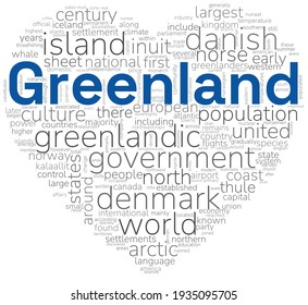 Heart shape wordcloud, or wordle, summarizing the main information about Greenland. A visual design with a white background.