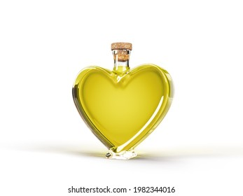heart shaped bottle with olive oil inside. 3d illustration, suitable for cooking, alphabet and healthy eating themes