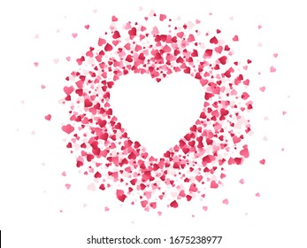 Heart shaped confetti. Happy valentines day lovely frame, wedding anniversary greeting card with lovely red confetti paper shape of heart  illustration background. Creative romantic backdrop