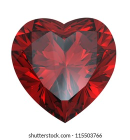 Heart shaped Diamond isolated on a white background.  Garnet