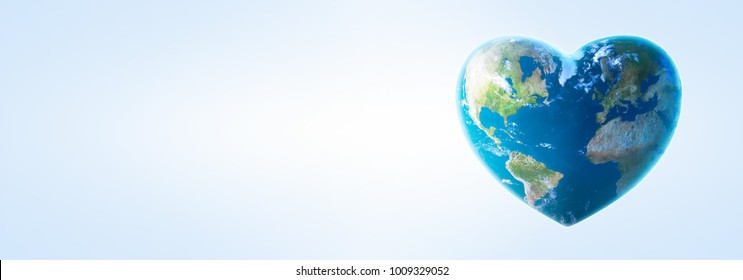 Heart shaped earth 3d illustration