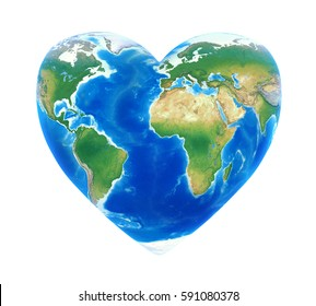 Heart Shaped Earth Isolated. 3D rendering